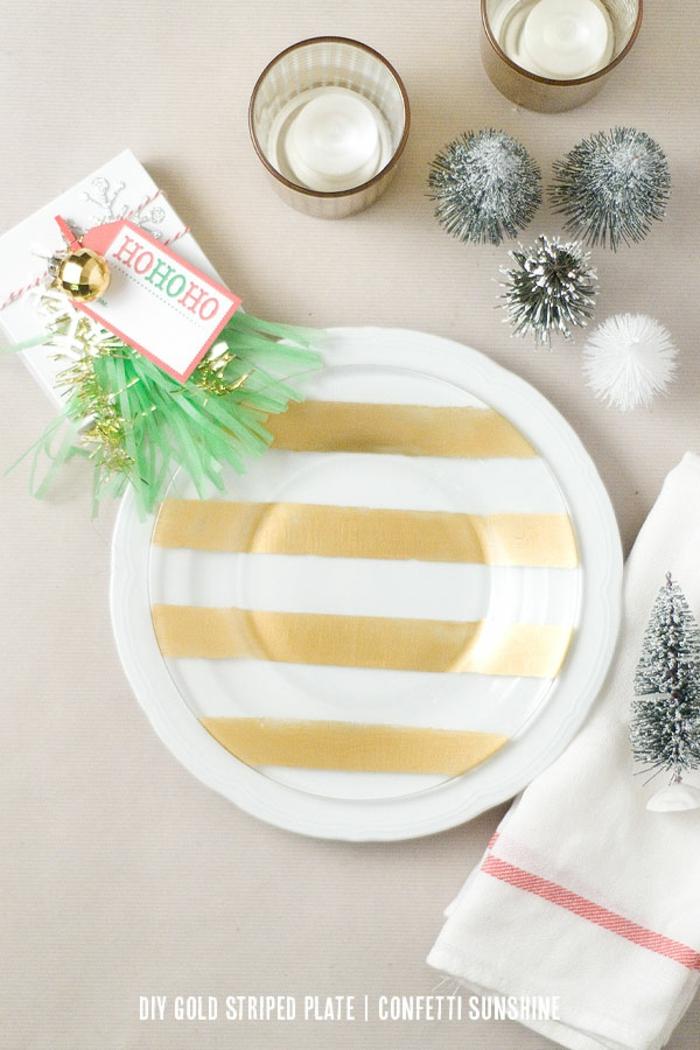 diy deko ideen weihnachten adventszeit tischdeko selber machen geschirr dekorieren