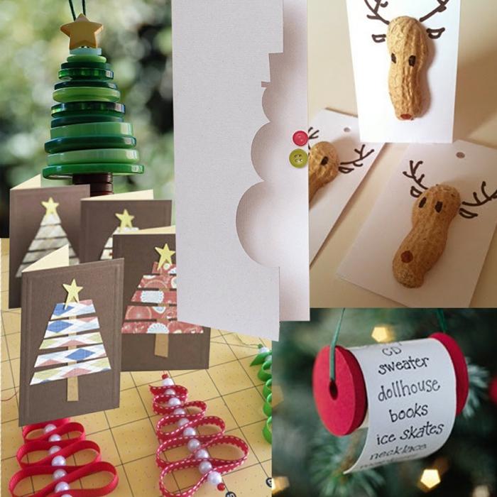 diy deko ideen weihnachten knöpfe erdnussschalen adventszeit