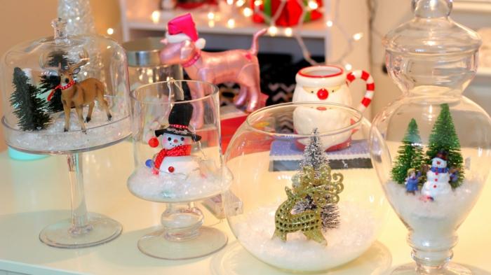 diy deko ideen weihnachtsdekoration gläser kunstschnee adventszeit