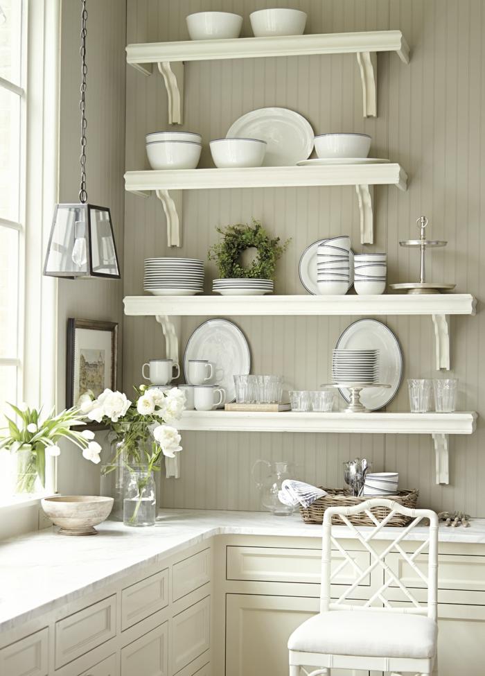 eckregale offen küche gestalten ideen weiße küchenmöbel