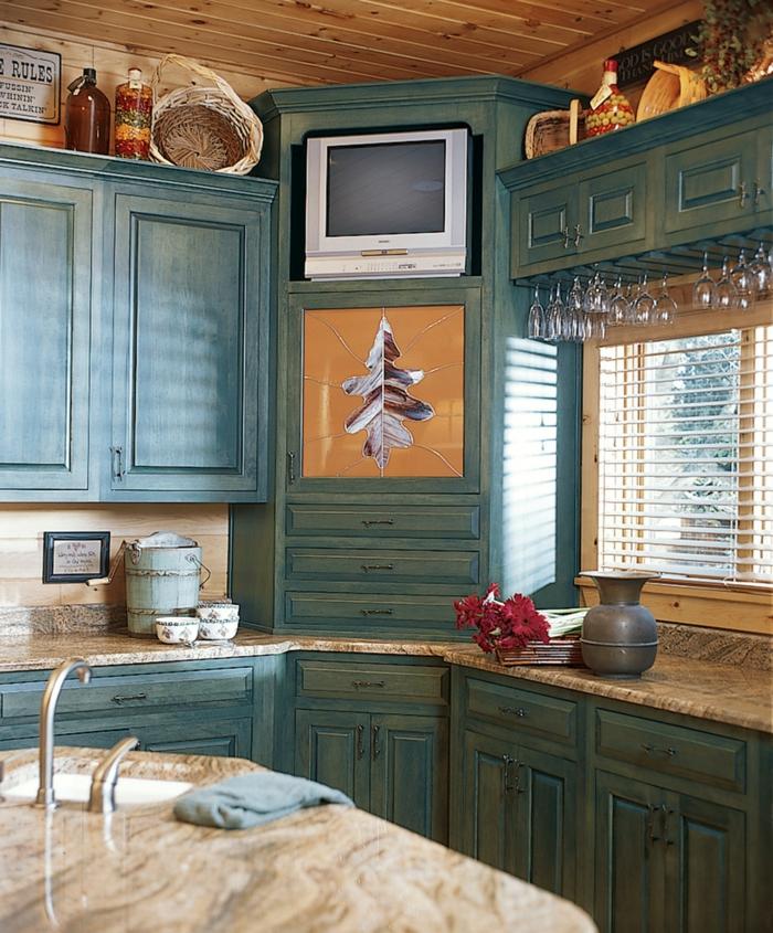 eckschrank ideen küche grün schubladen deko