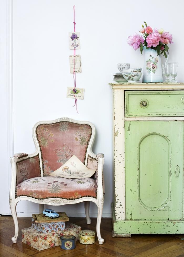einrichtung wohnzimmer kommode shabby shic deko ideen wohnzimmer möbel sessel