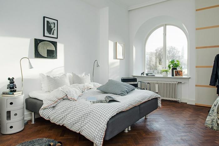 einrichtungsideen schlafzimmer frisch weiblich grau weiß