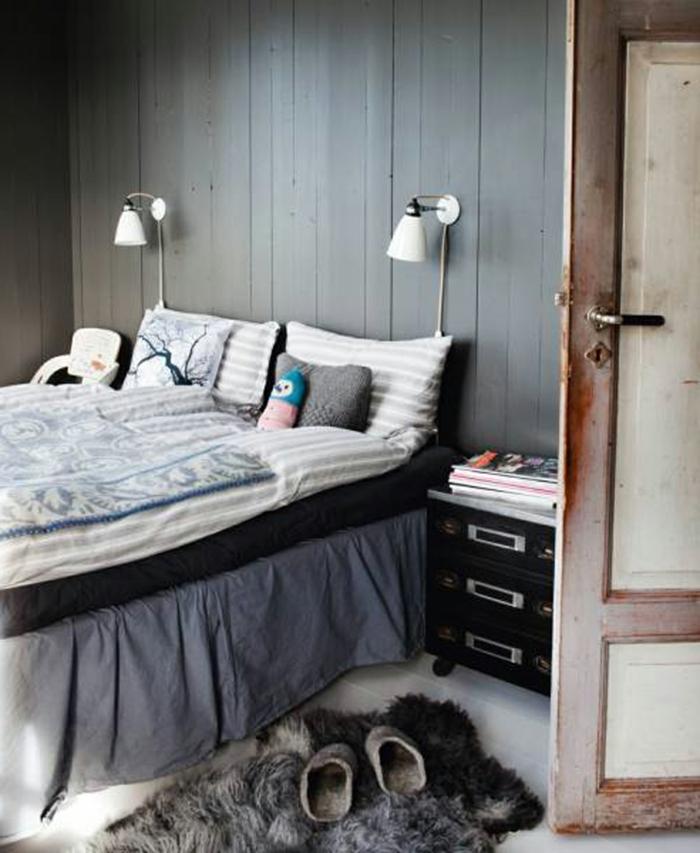 einrichtungsideen schlafzimmer landhausstil graue wände wandleuchten