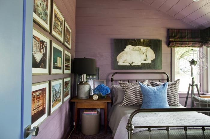 einrichtungsideen schlafzimmer lila wandfarbe blaue akzente