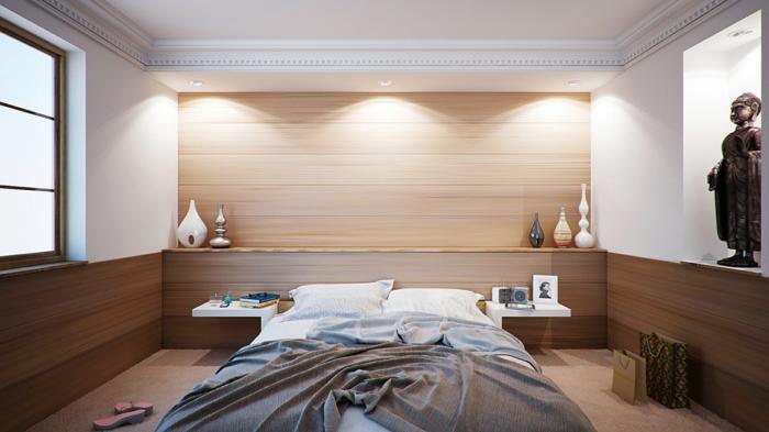 einrichtungsideen schlafzimmer modern minimalistisch dekoartikel teppichboden