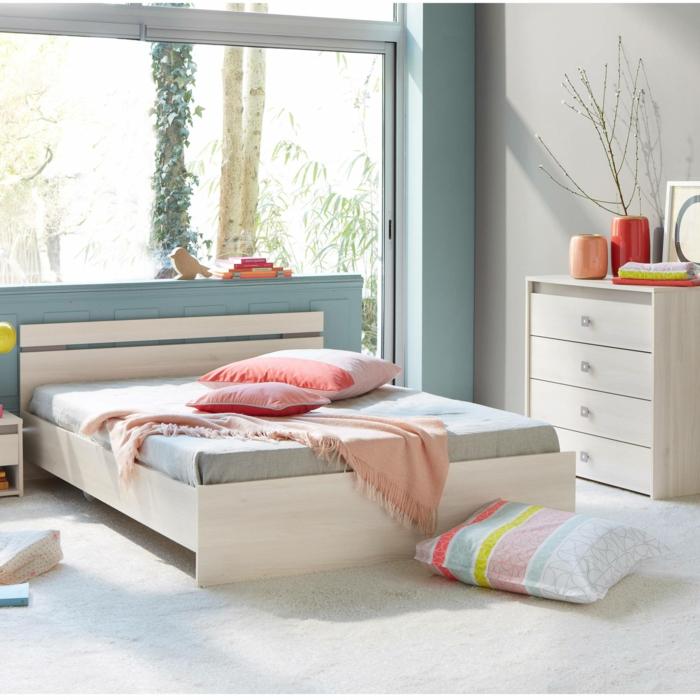einrichtungsideen schlafzimmer pastellfarben minimalistisches bett