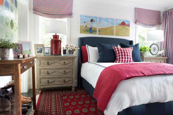 einrichtungsideen schlafzimmer rote akzente raffrollo teppich