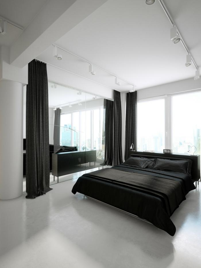 einrichtungsideen schlafzimmer schwarze bettwäsche weißer teppichboden