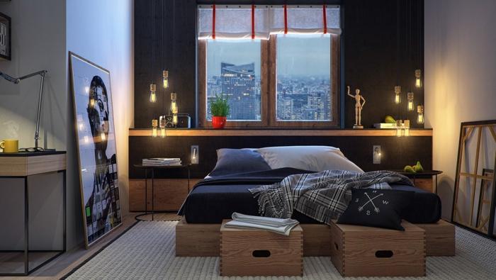 einrichtungsideen schlafzimmer urban stil hängeleuchten schwarze akzentwand