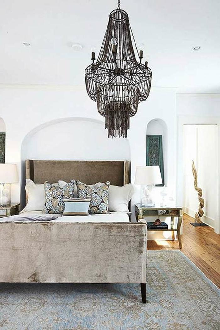 wohnideen schlafzimmer vintage teppich rustikales bett