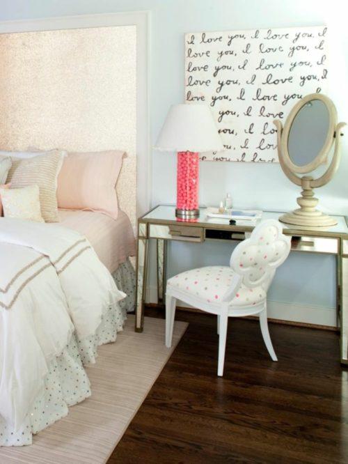 einrichtungsideen schlafzimmer weiblich wandgestaltung schminktisch
