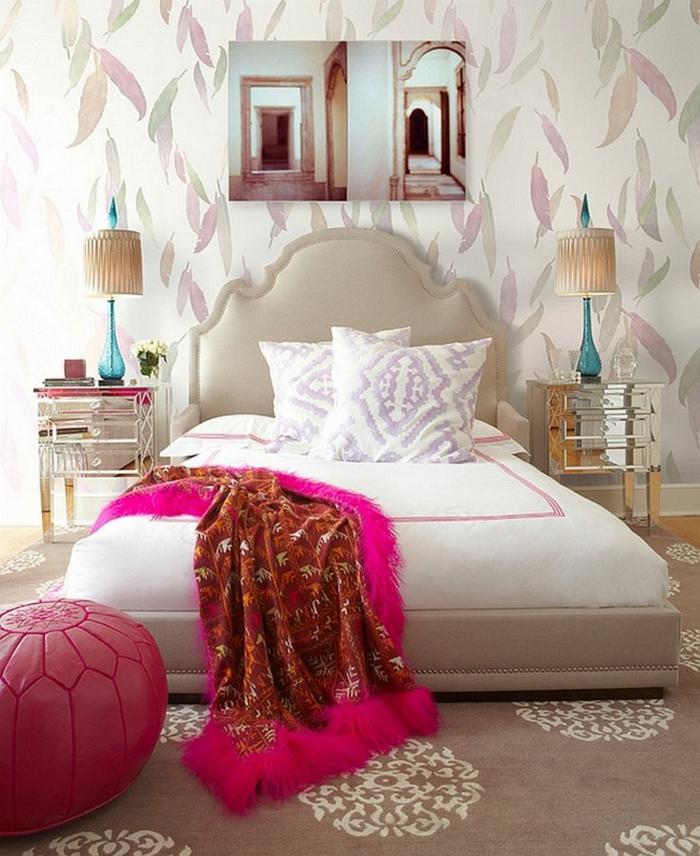 einrichtungsideen schlafzimmer weiblich krasse akzente schöne wandgesraltung