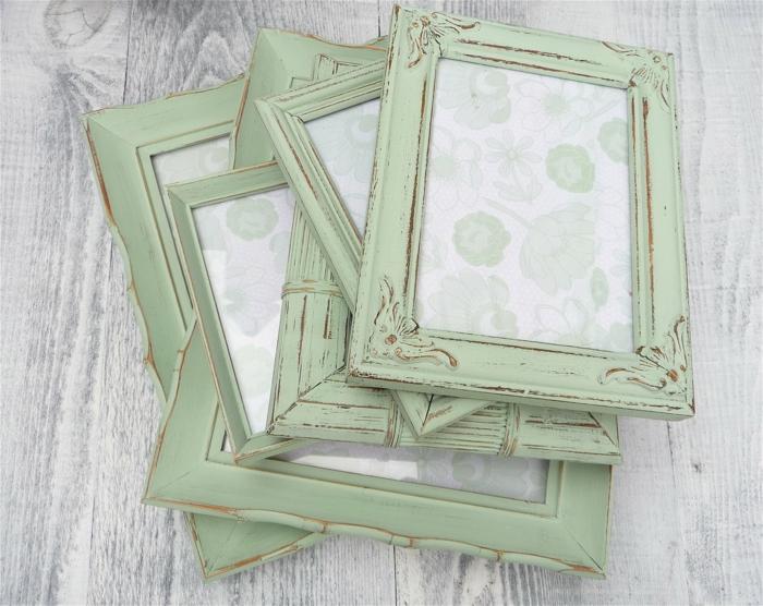 einrichtungsideen shabby chic deko wohnaccessoires bilderrahmen mintgrün