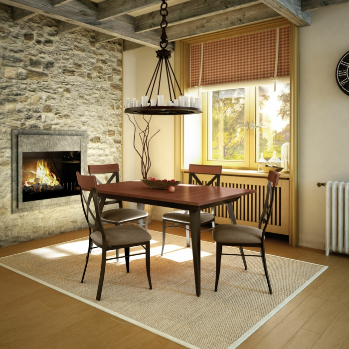 esszimmer einrichten essbereich teppich kamin schöne wohnideen
