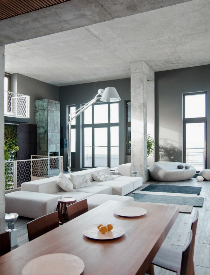 esszimmer einrichten ideen offener wohnplan wohnzimmer weißes ecksofa