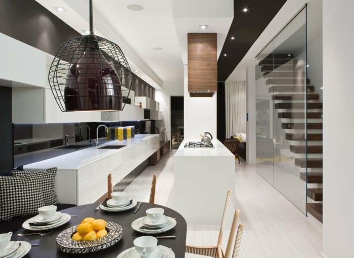 esszimmer einrichten ideen küche ausgeffalener leuchter