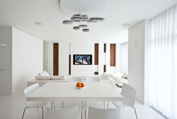 esszimmer einrichten weiße möbel weiße wandfarbe offener wohnplan