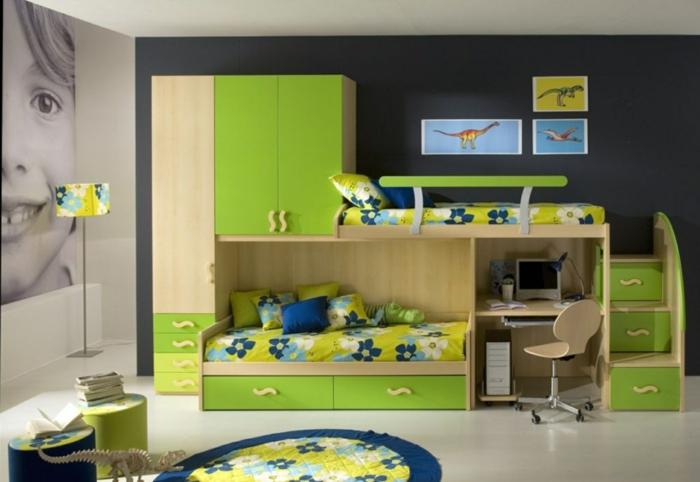 etagenbett design kinderzimmer einrichten ideen grüne akzente runder teppich blumenmuster