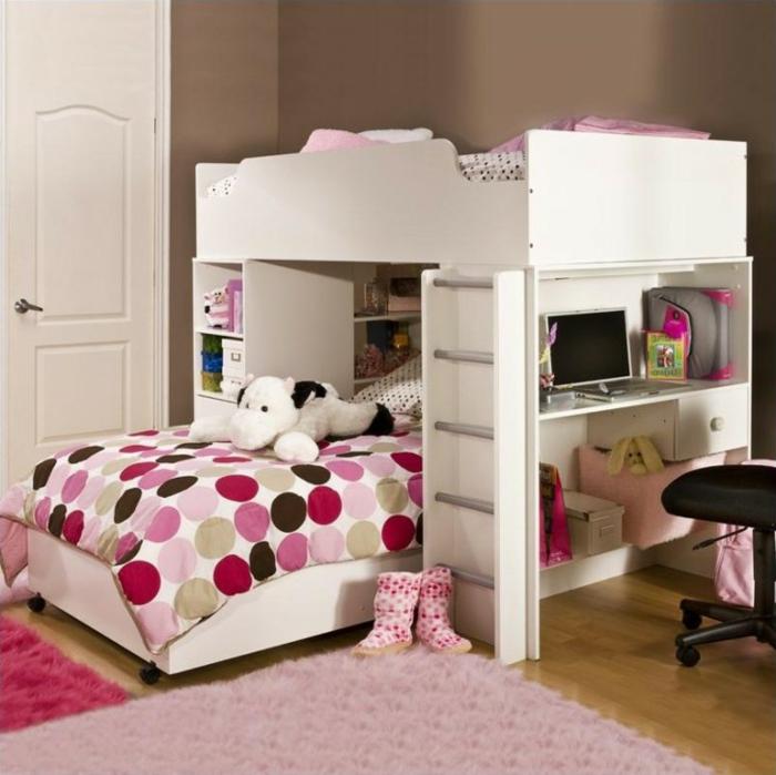 etagenbett kinderzimmer einrichten ideen mädchenzimmer gestalten rosa teppich