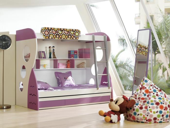 etagenbett wohnideen kinderzimmer mädchenzimmer gestalten coole uhr