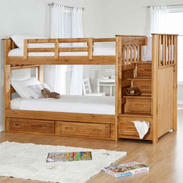 etagenbett wohnideen kinderzimmer schubladen funktionales design weißer teppich
