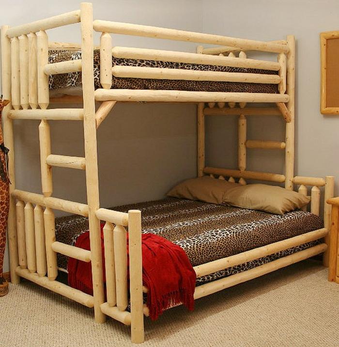 etagenbetten kinderzimmer gestalten bambus bettwäsche muster