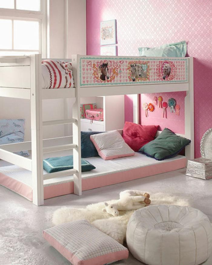 kinder etagenbett mädchenzimmer einrichten bodenkissen