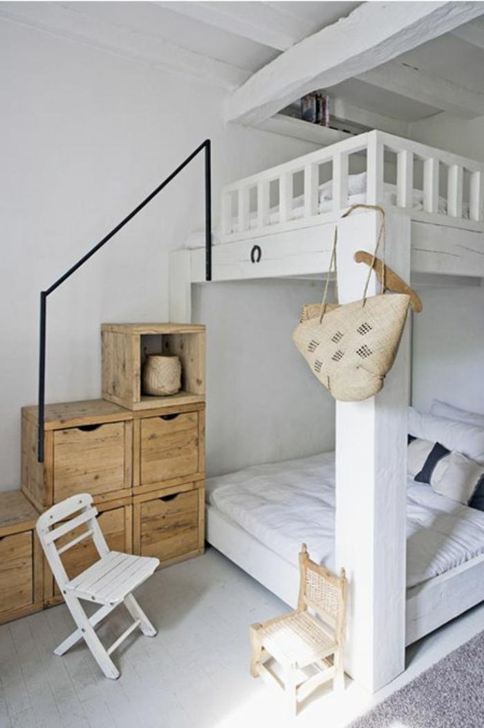 etagenbetten schlafzimmer gestalten ideen hölzerne schubladen