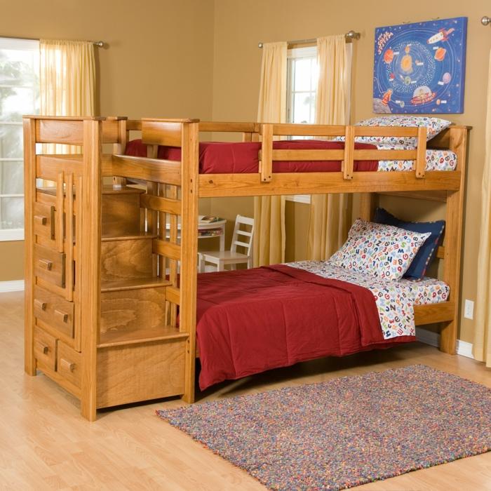 etagenbetten wohnideen kinderzimmer coler kinderteppich schubladen