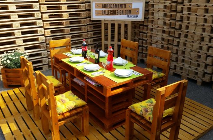 europalette holz paletten gartenmöbel esstisch stühle selber bauen