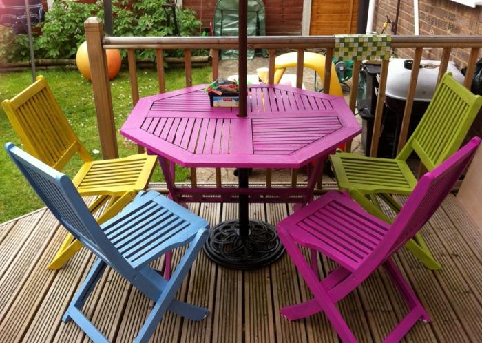 gartenmöbel set farbig hölzerne außenmöbel patio
