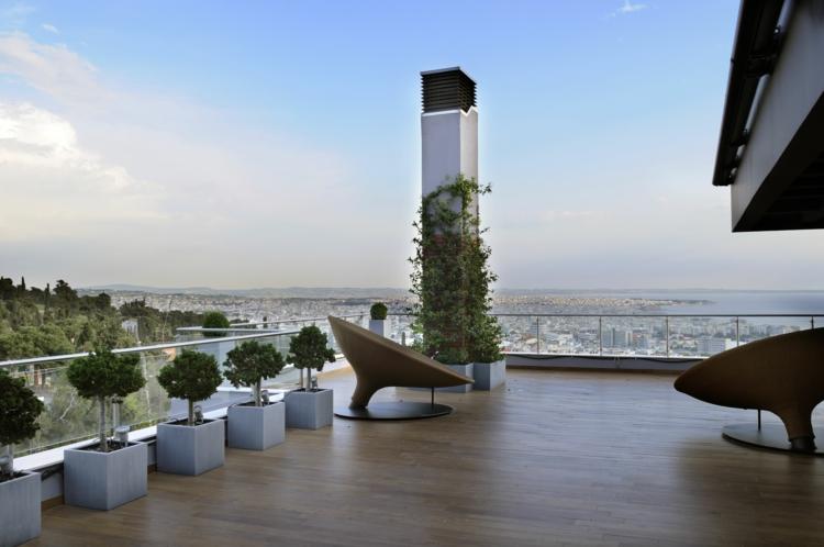 geräumige schöne Balkone gestalten Zimmerpflanzen