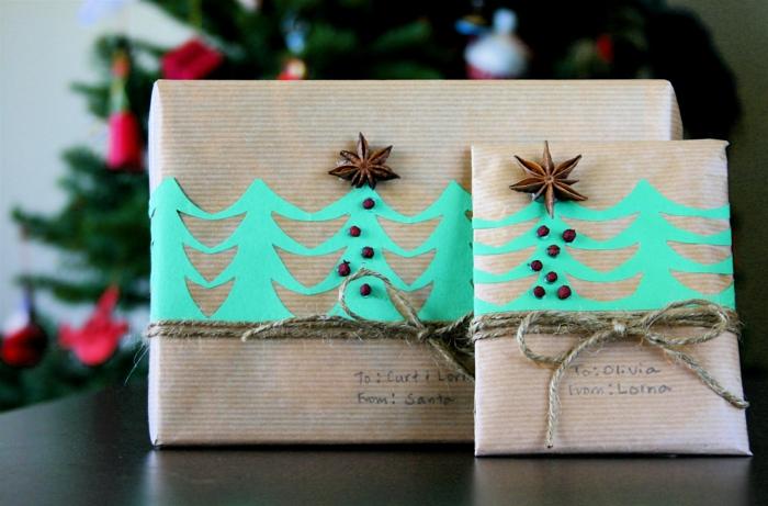 geschenke verpacken geschenk verpacken geschenke schön verpacken geschenk biene braun gruen-tannenbäume