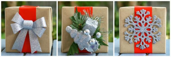 geschenke verpacken geschenk verpacken geschenke schön verpacken geschenk idee silberr rot