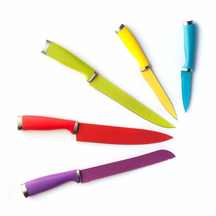 gute Küchen Messer Test Messerset farbenfroh