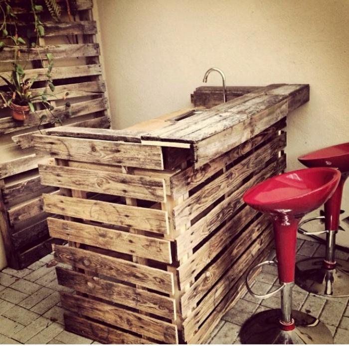 holz paletten möbel diy ideen küchenmöbel bartheke selber bauen