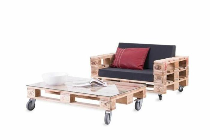 holzpalette diy möbel ideen sofa europaletten couchtisch