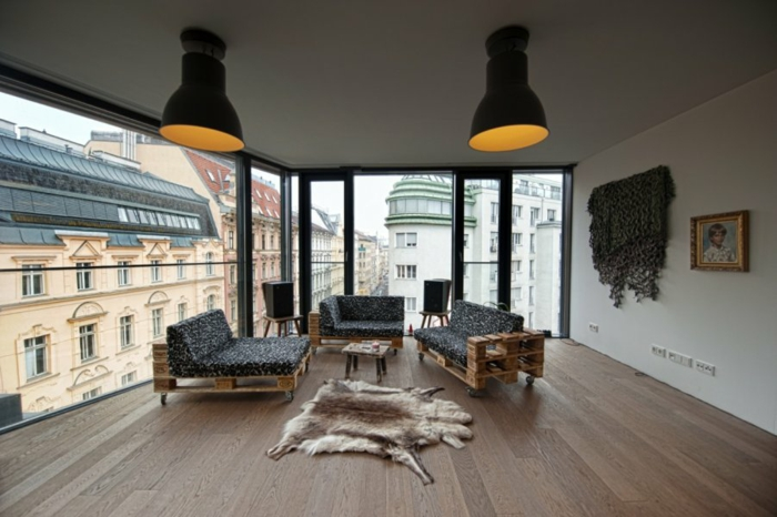 holzpaletten diy möbel ideen wohnzimmereinrichtung sofas europaletten