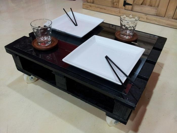 holzpaletten möbel couchtisch schwarz japanischer stil