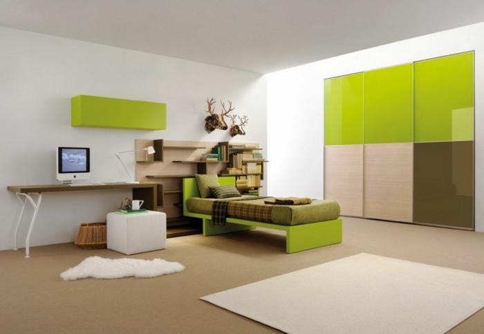 jugendbett grünes design weißer teppich hocker eingebauter schrank