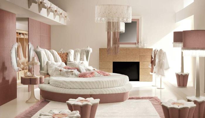jugendbett mädchenzimmer einrichten rund kamin teppich milde schattierungen