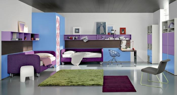 jugendzimmer einrichten doppelzimmer lila betten farbige teppiche