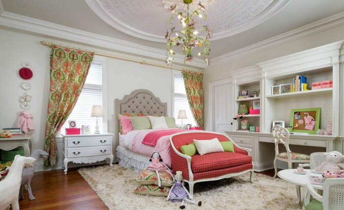 jugendzimmer einrichten mädchenzimmer ideen jugendbett sessel schöne decke farbige gardinen