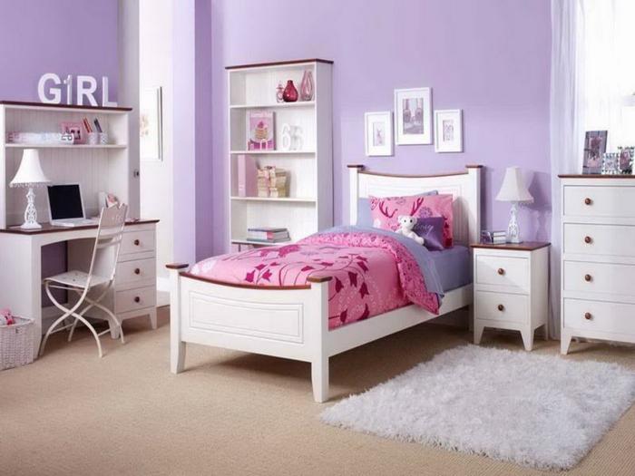 jugendzimmer einrichten mädchenzimmer weißer teppich lila wände