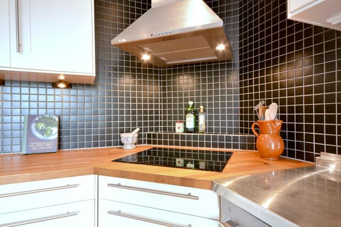 küchenfliesen wand schwarz weiße küchenschränke wohnideen küche