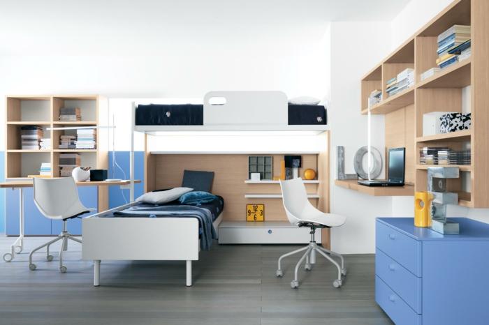 kinder etagenbett blaue elemente schreibtisch offene regale