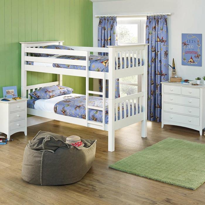 kinder etagenbett farbige gardinen grüner teppich wohnideen kinderzimmer