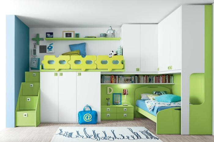 kinder etagenbett grüne konstruktion weiße schränke teppich