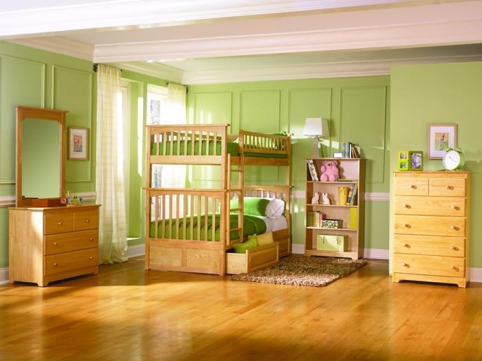 kinder etagenbett grüne wandfarbe kindermöbel holz teppich